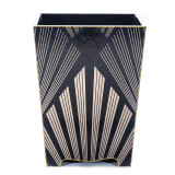 Gatsby Waste Paper Bin with Gold Trim- front