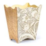 White Flower Waste Paper Bin - side view