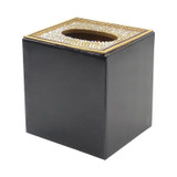Black and Gold Enamel Tissue with Crystal Top - side
