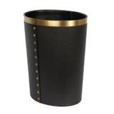 Black Waste Bin with Brass Studs and Trim - side