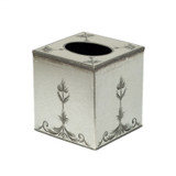 Royal Rococo Cube Tissue Cover - in Silver Leaf