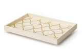 Ivory Lattice Pattern Tray (wood)