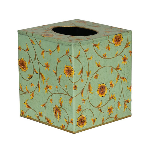 English Country Green-Blue Scroll Tissue Box Cover