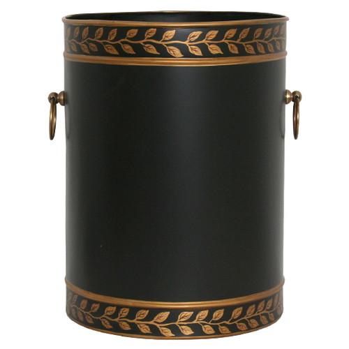Grecian Leaves Waste Paper Bin - Black