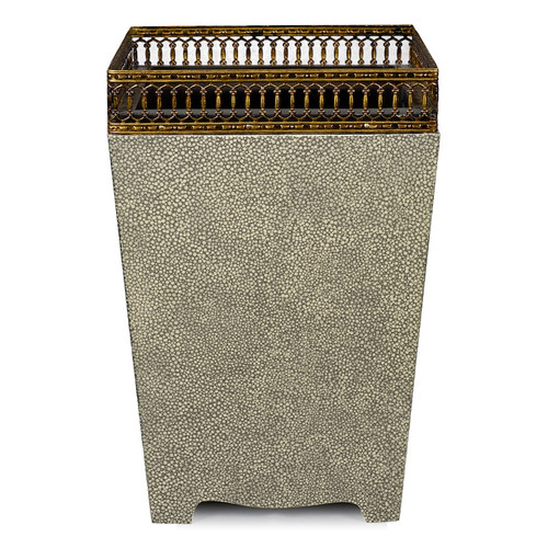 Galuchat with Brass Trim Waste Paper Basket - front view