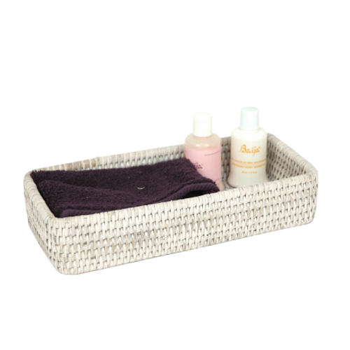 Bathroom Spa Tray - White Rattan