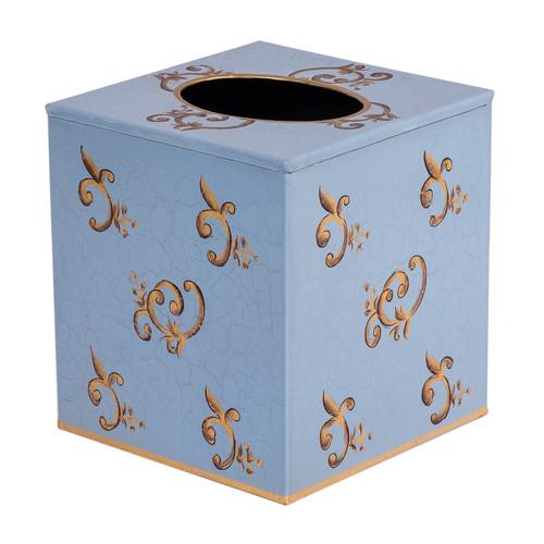 Eastern Swirl Tissue Box Cover - Topaz Blue