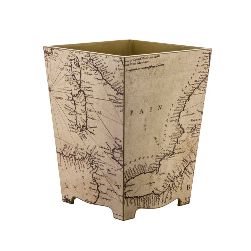 Decoupage Map Waste Paper Bin (wood) - Sale