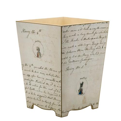 Decoupage  Jane Austen Waste Paper Bin (wood) - Sale