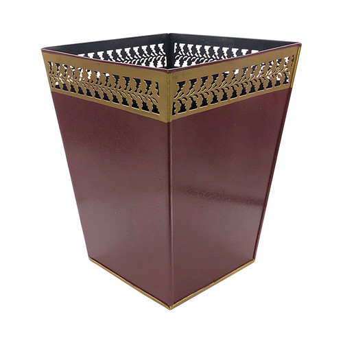Claret/Wine Plain Waste Paper Bin with Trim