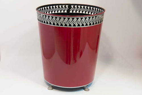 Wine Waste Bin with Silver Trim
