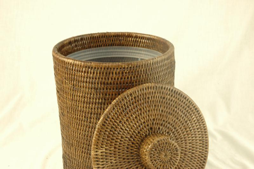 Rattan Bin with Lid and Liner - Dark
