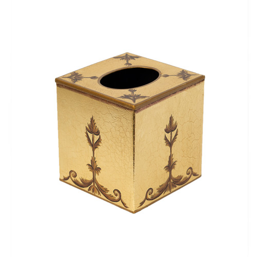 Royal Rococo Cube Tissue Cover - in Gold Leaf