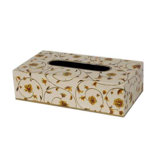 Scroll Rectangle Tissue Box / Holder - Ivory