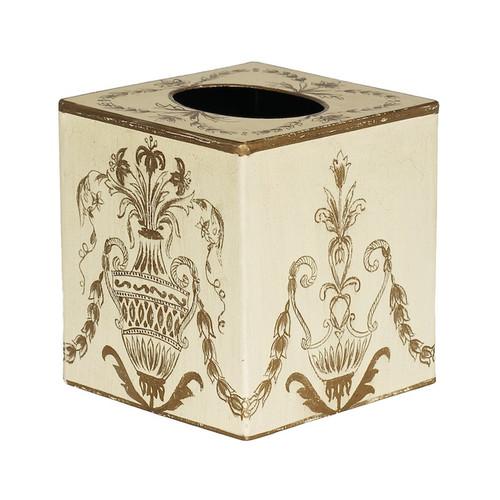 Ivory Festoon Tissue Box Cover