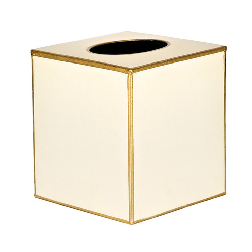 Plain Pastel Tissue Box Cover - Ivory and Gold