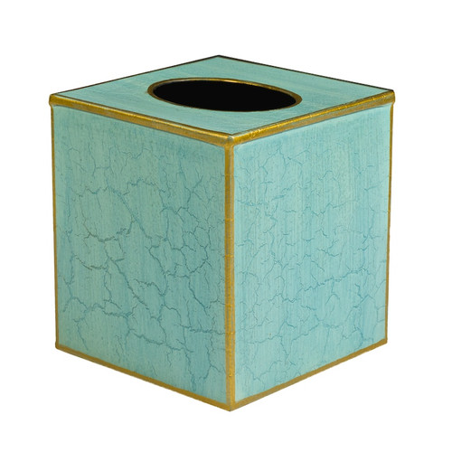 Plain Pastel Tissue Box Cover - Blue and Gold