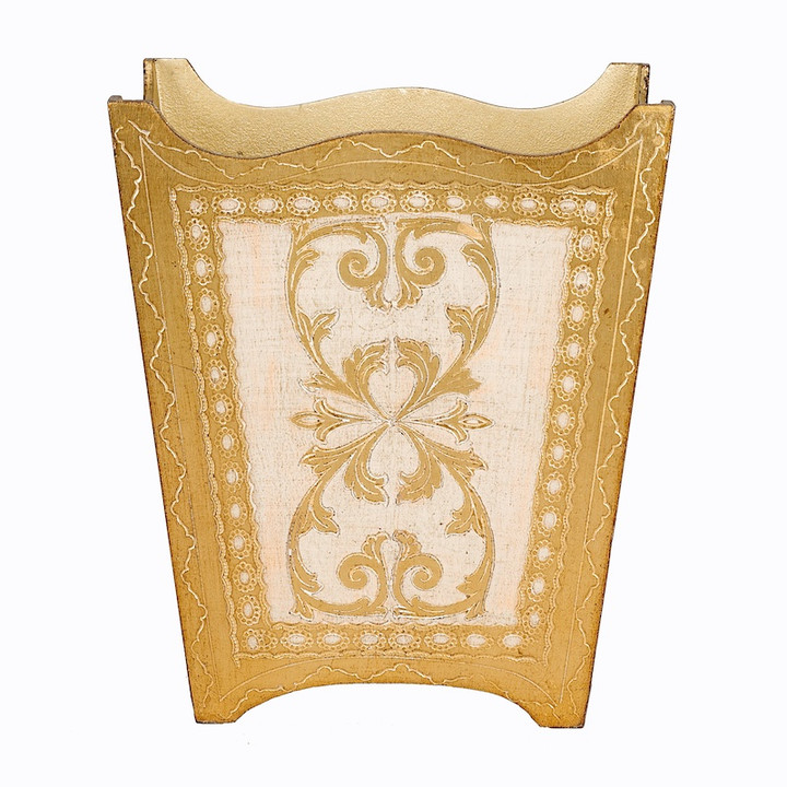 Royal Florentine Gold and Ivory Waste Paper Bin - front view
