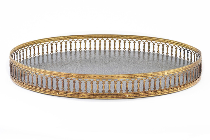 Oval Galuchat Tray with Brass Trim in Pewter