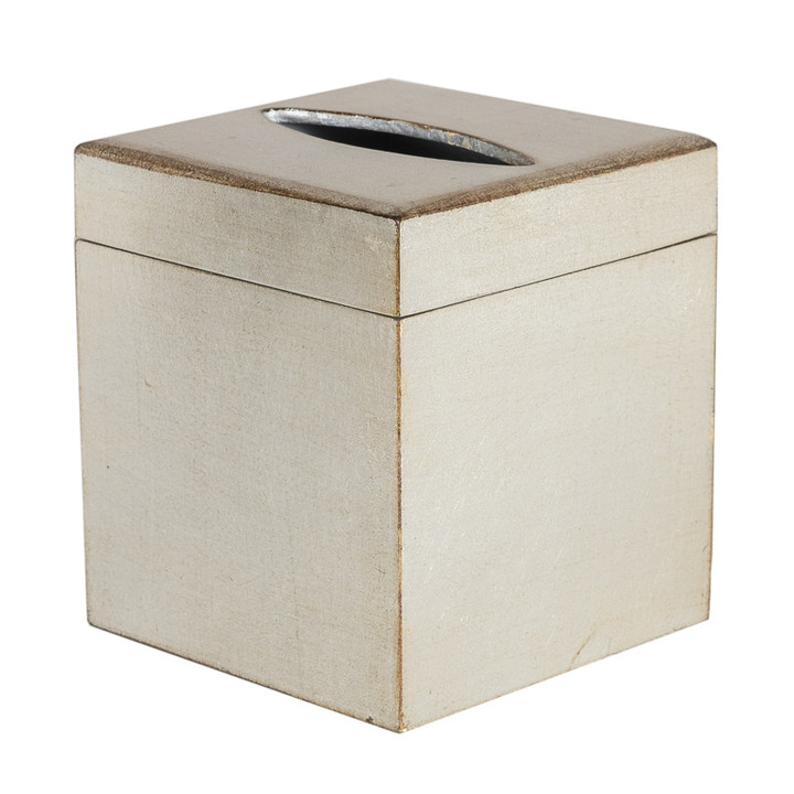 Brushed Silver Florentine Tissue Box Cover - with lifting lid
