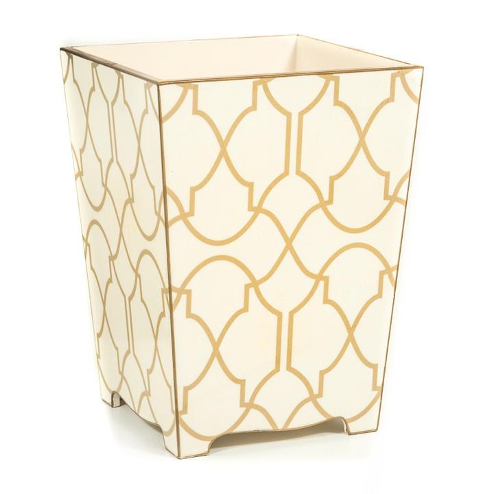 Wooden Lattice Waste Paper Bin (side view)