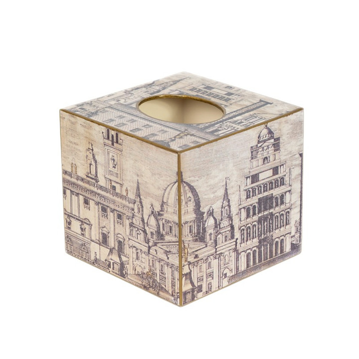Neoclassical Cube Tissue Box (wooden) - Side View