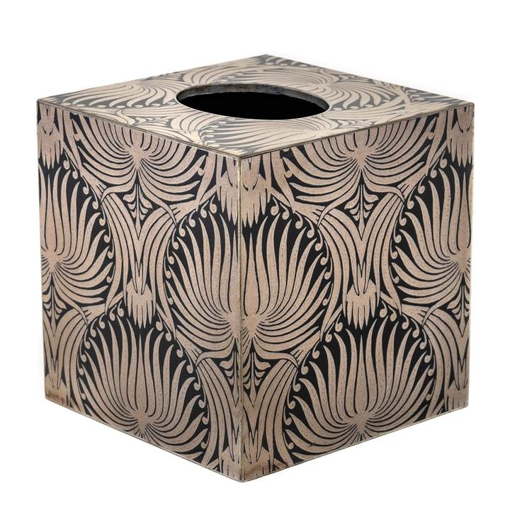 Silver Palm Cube Tissue Box