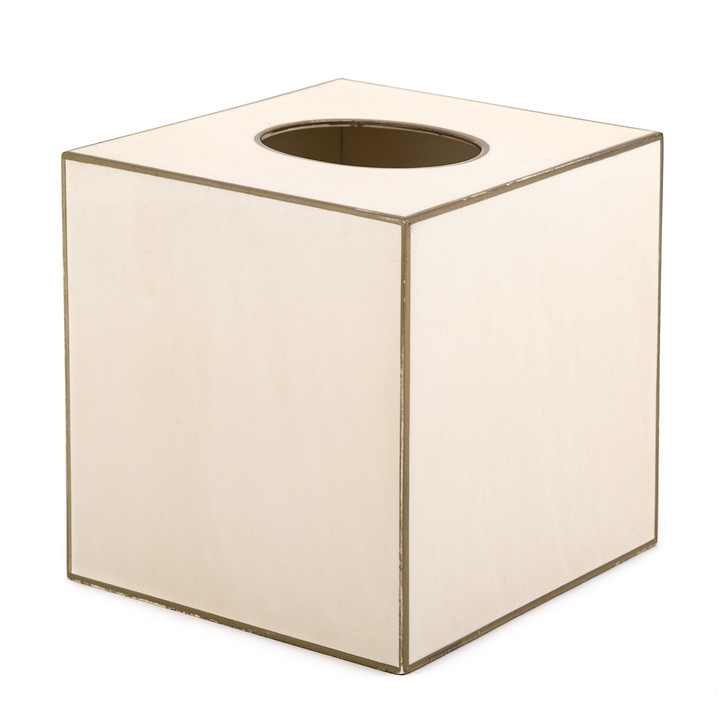 Plain Ivory  with Gold Trim Square Tissue Cover (wood)