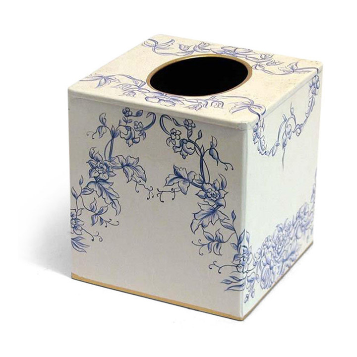 Blue and White Toile de Jouy Tissue Box Cover