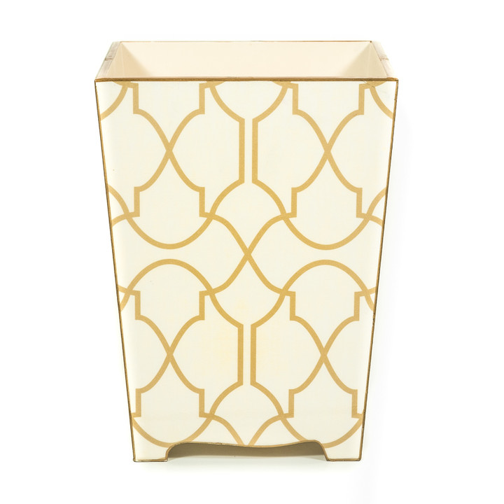Wooden Lattice Waste Paper Bin (front view)