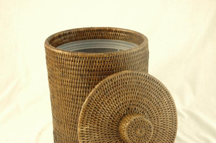 Small Rattan Bin with Lid and Liner - Dark