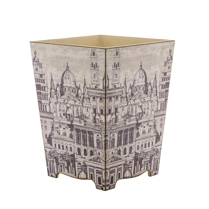 Neoclassical Waste Paper Bin - Side View (wooden)
