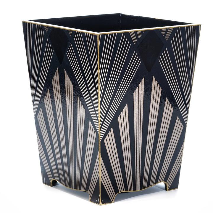 Gatsby Waste Paper Bin with Gold Trim- side