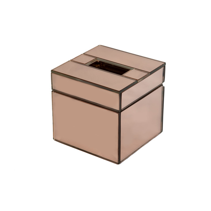 Rose Gold Glass Cube Tissue Box