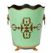 Rococo Mint Green Leaf Waste Paper Bin - front view