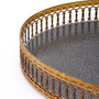 Oval Galuchat Tray with Brass Trim in Pewter - close view