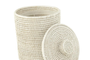 Small Rattan Bin with Lid and Liner - white