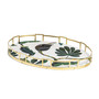Autumn Oval Tray with Stepped Brass Trim