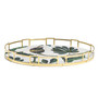 Autumn Oval Tray with Stepped Brass Trim - side view