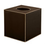 Plain Dark Brown  with Gold Trim Square Tissue Cover (wood)