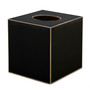 Plain Black  with Gold Trim Square Tissue Cover (wood)