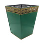 Cameo Green Plain Waste Paper Bin with Trim