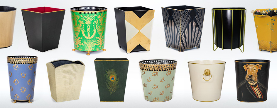 decorative luxury waste paper bins baskets trash cans metal painted wood  Must Have Bins