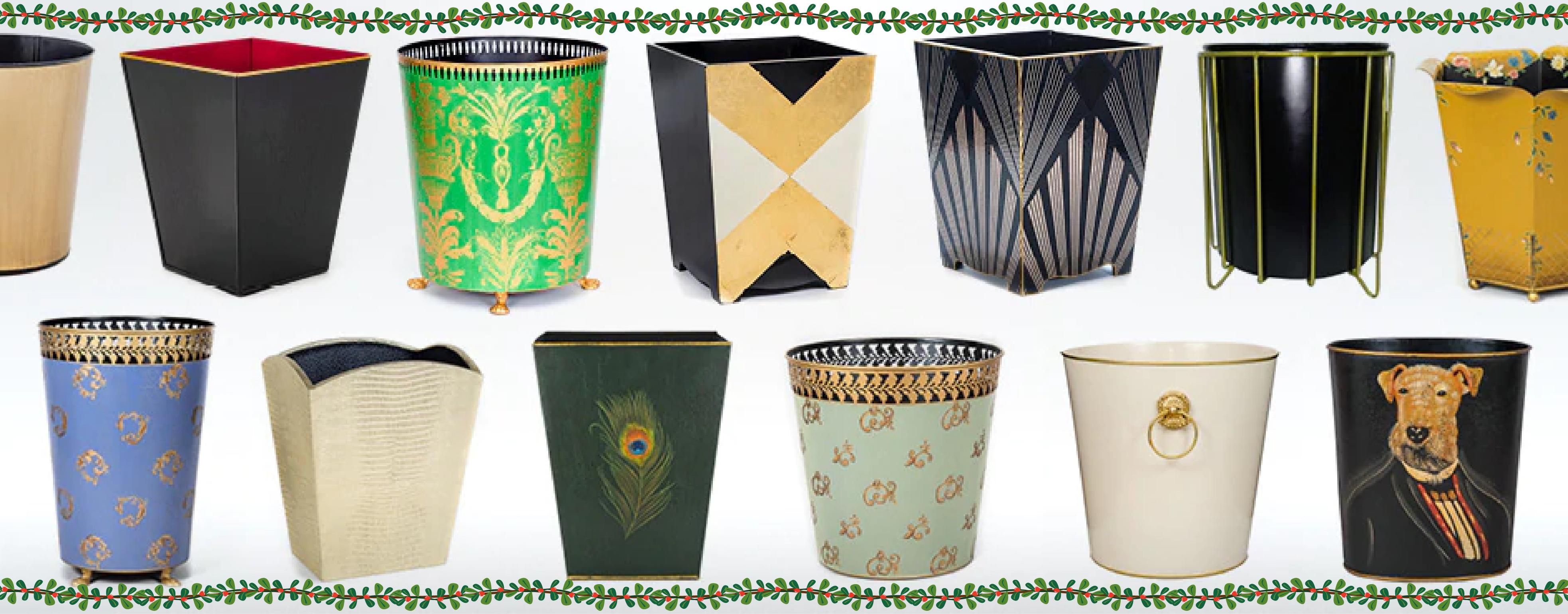 ecorative luxury waste paper bins baskets trash cans metal painted wood  Must Have Bins