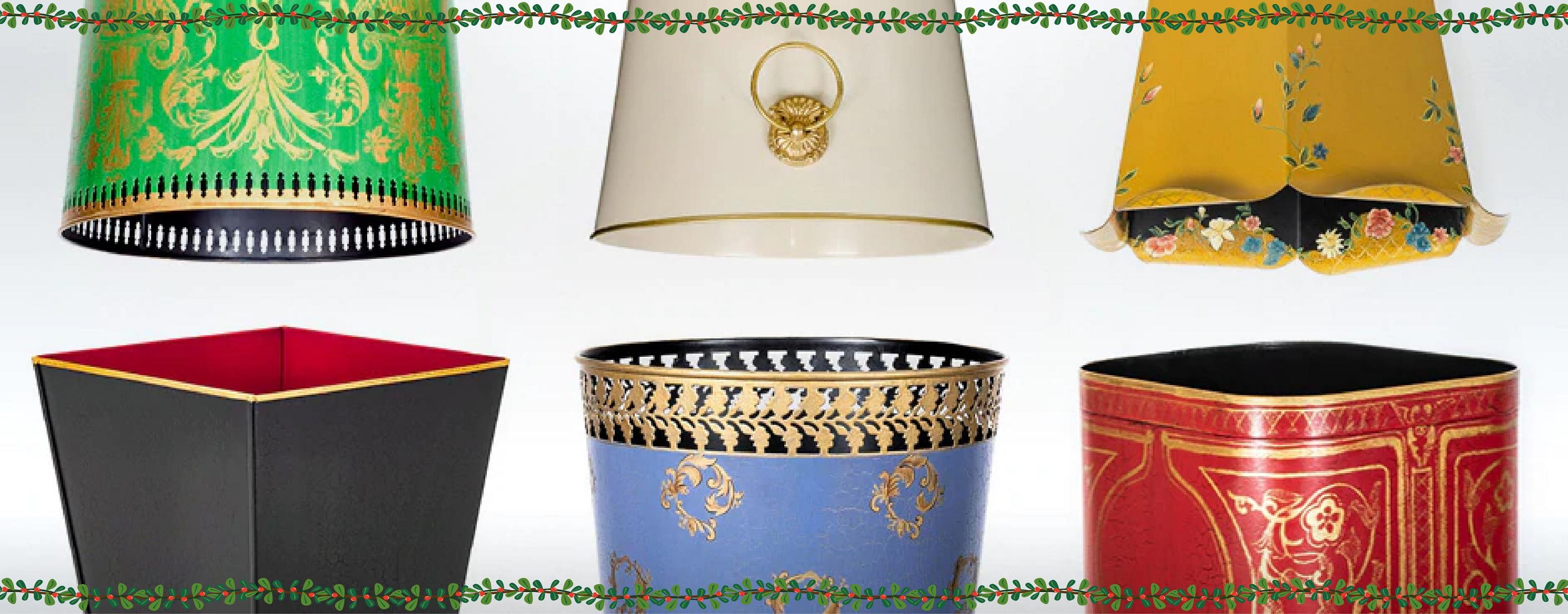 Quality designer Luxury Waste Paper Bins Baskets Metal Wood Bedroom Living Room