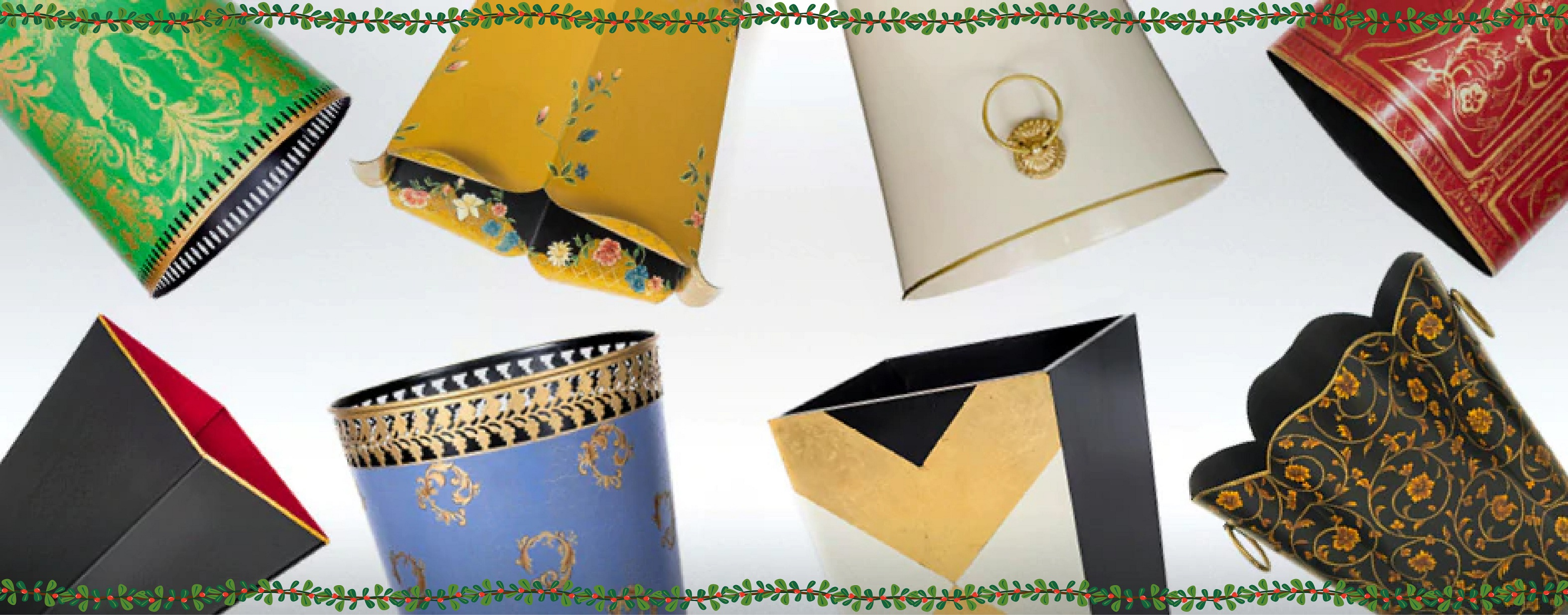 Decorative fine traditional english decor Waste Paper Bins Baskets with Brass Trims and Handles   Must Have Bins