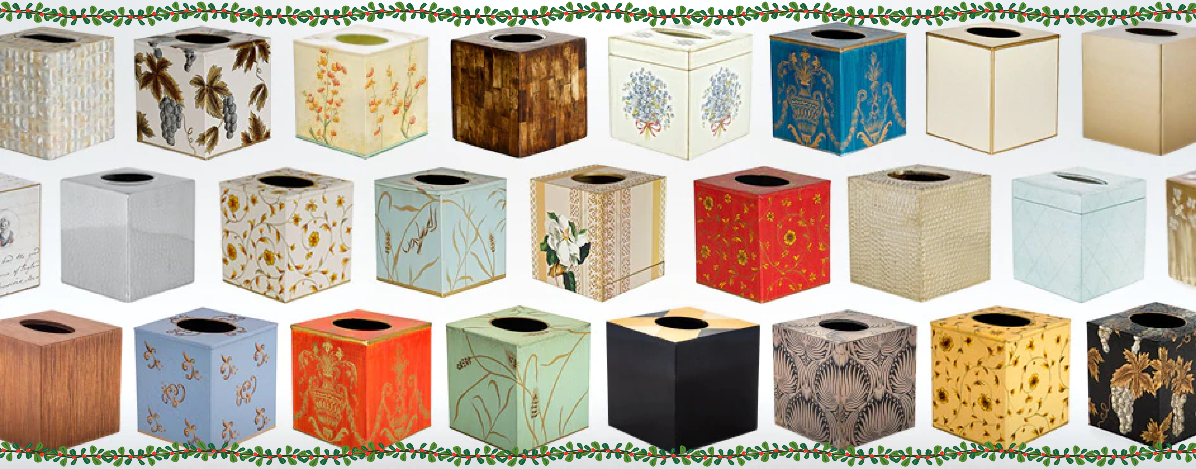 Luxury Decorative Tissues Cover Box Square Cube Ivory Gold Painted Wood Rattan Gold UK