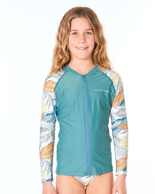 Girls Zip-Thru LS Rashie - Green