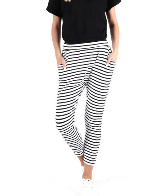 Lola Pant - White Black Stripe
