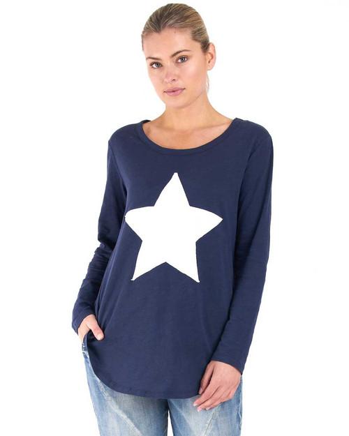 Megan Long Sleeve Top - Navy Star